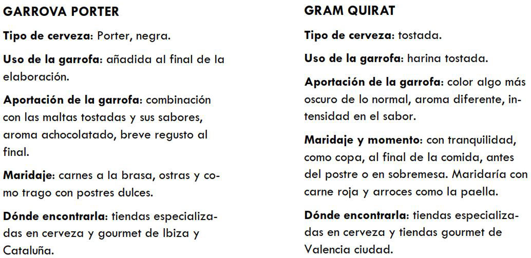 Detalle de las cervezas Garrova Porter y Grim Quirat
