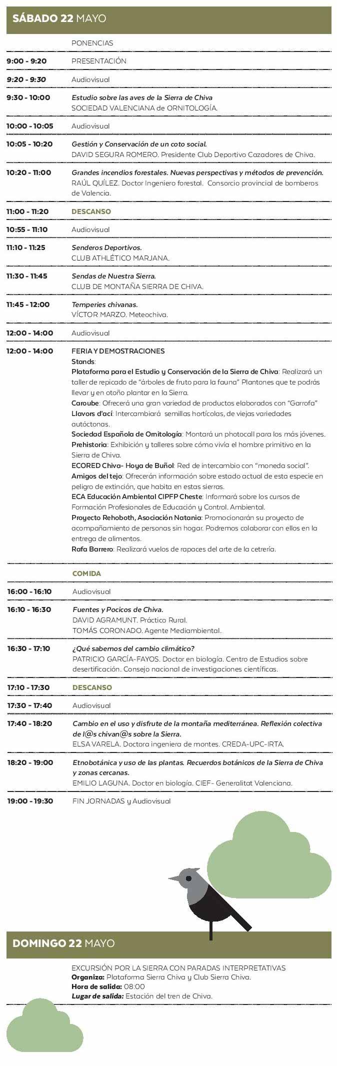 Programa Jornadas Medioambientales Chiva