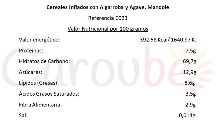 Cereales Inflados con Algarroba y Sirope de Agave