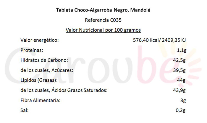 Valores Nutricionales Tableta Choco Algarroba